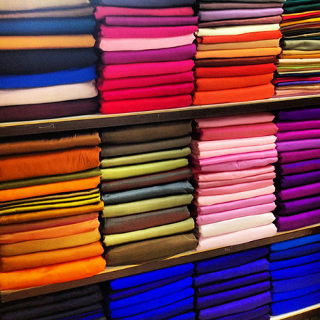 Colorful Thai silk fabric