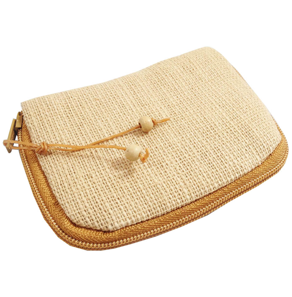 Small hemp bag with zipper closure for key chain