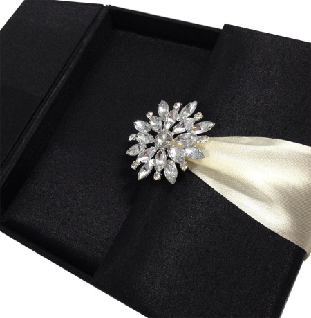 Hand-Made Embellished Silk Wedding Invitation Box In Black