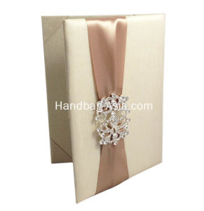 Dupioni silk wedding invitation pocket folder with brooch