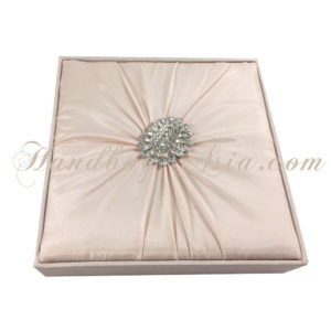 Blush pink silk wedding invitation box